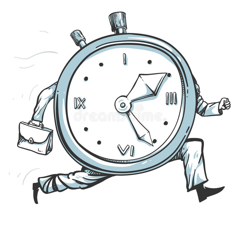 Clock running out of time. Vector illustration of a clock character running of time vector illustration