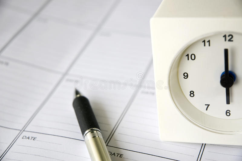 Download Clock On Schedule Planner Royalty Free Stock Images - Image: 25704529