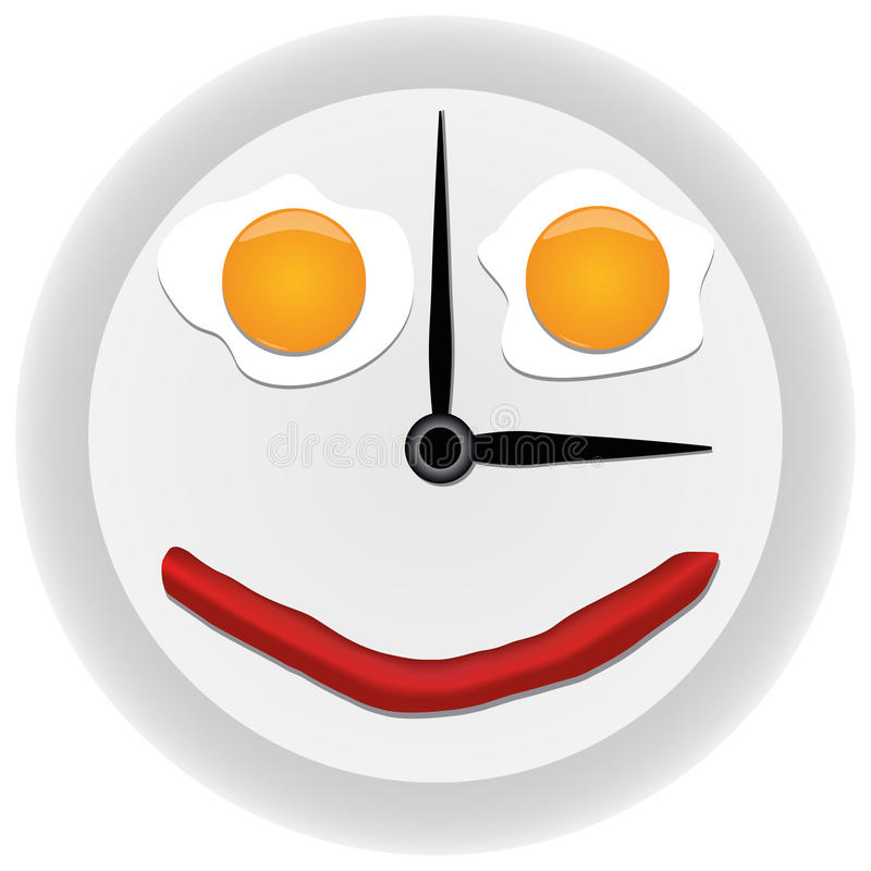Clock with scrambled eggs. Funny clock with scrambled eggs royalty free illustration