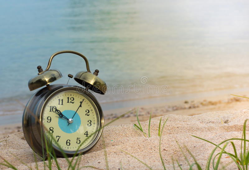 Clock and sea royalty free stock images