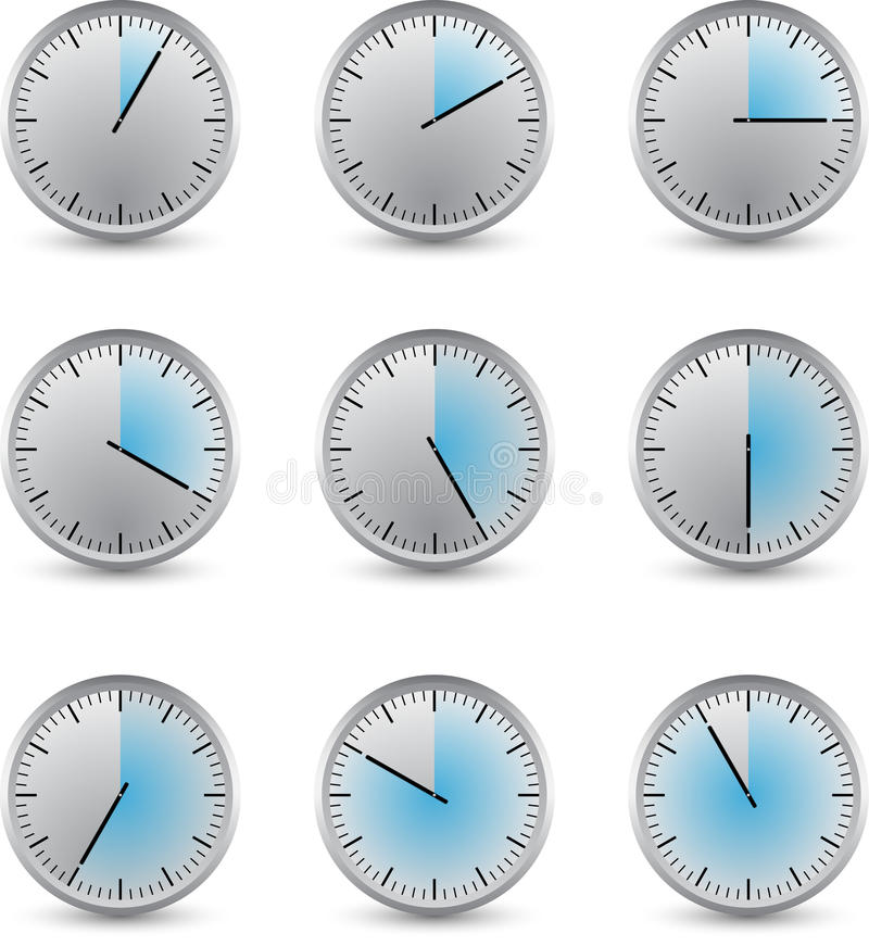 Clock series delay stock illustration