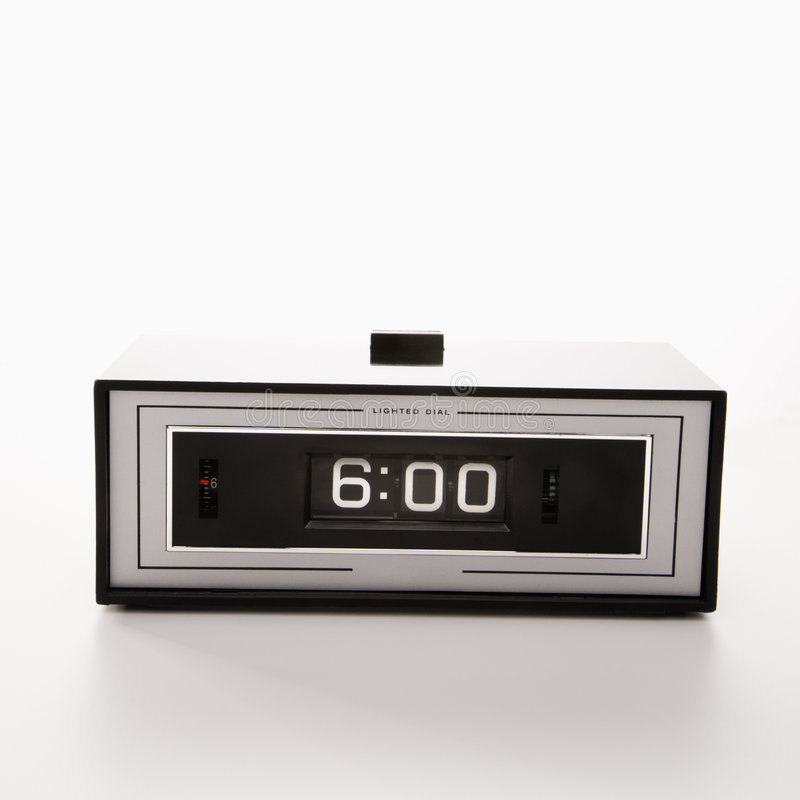 Clock set for 6:00. stock images