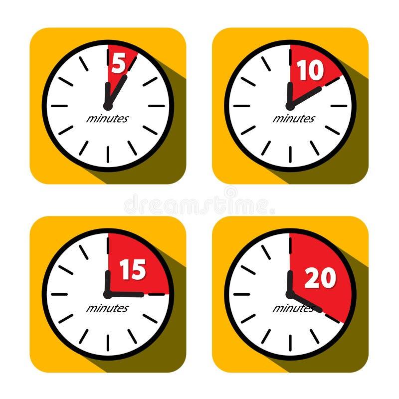 Free Clock Set. Five, Ten, Fifteen And Twenty Minutes Timer Symbols. Vector Flat Design Time Icons Stock Photos - 164481523