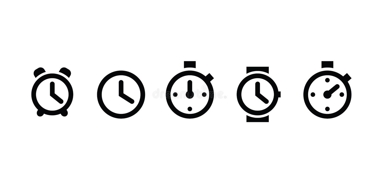 Clock set icons in trendy flat style isolated on white background. Clock set icons page symbol for your web site design icon logo stock illustration