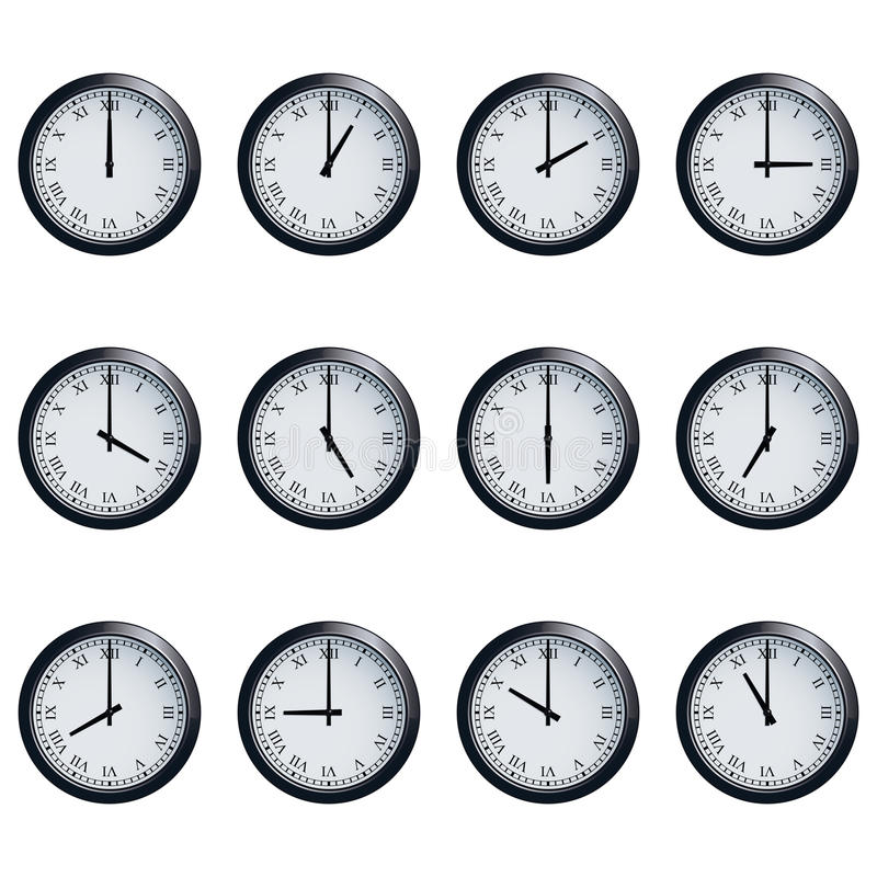 Clock Set With Roman Numerals Timed At Each Hour Stock