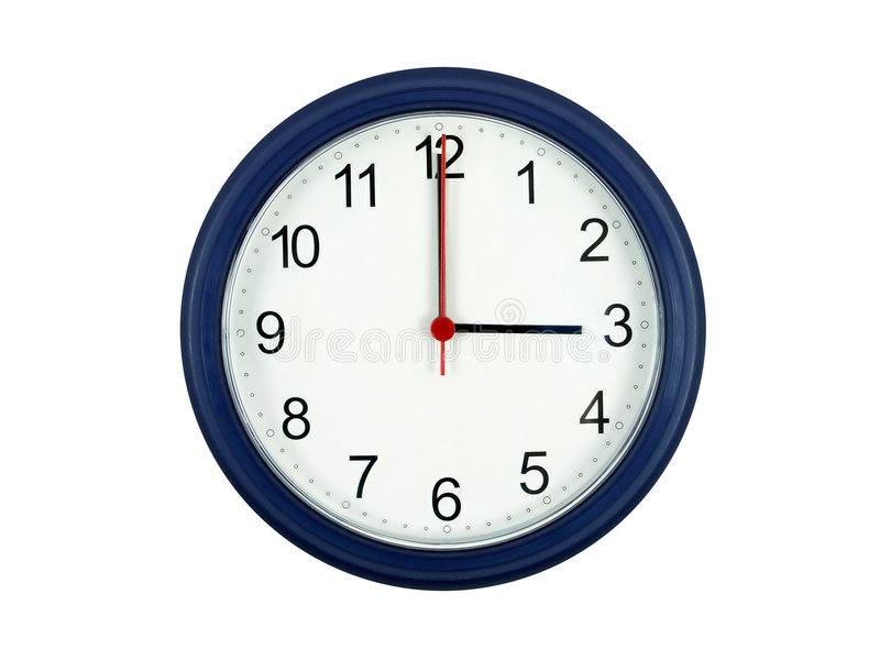 Clock showing 3 o'clock royalty free stock photography