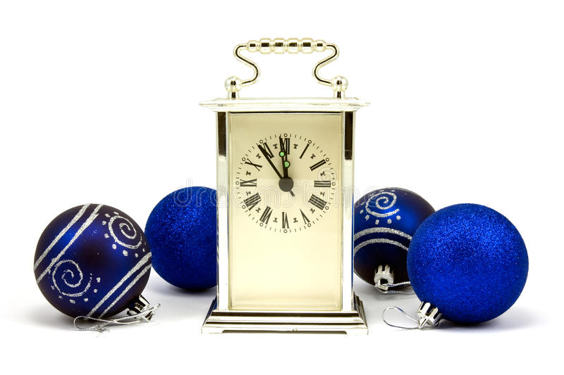 Clock showing five minutes to New Year stock photos