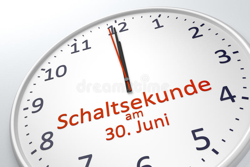 A clock showing leap second at june 30 in german language. 3d rendering of a clock showing leap second at june 30 in german language royalty free illustration