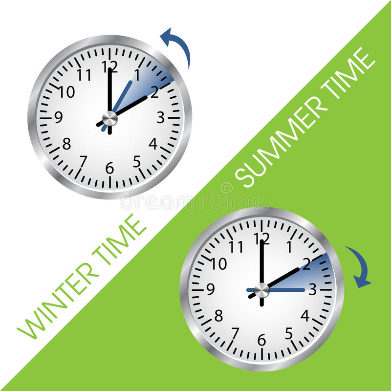 Clock showing summer and winter time vector illustration