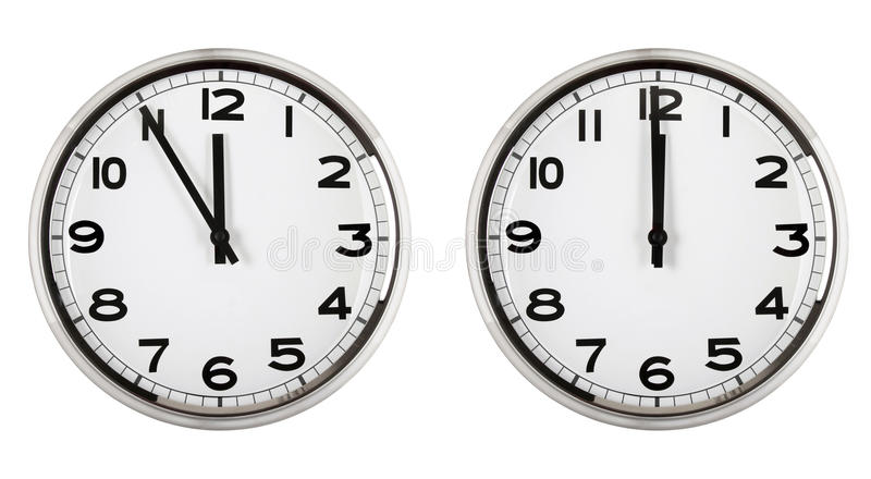 Clock showing time about twelve. new year. royalty free stock photos