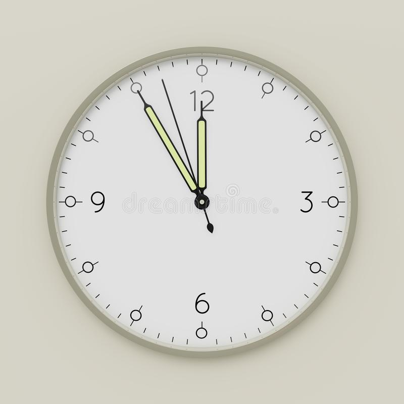 a clock shows five minutes to noon vector illustration