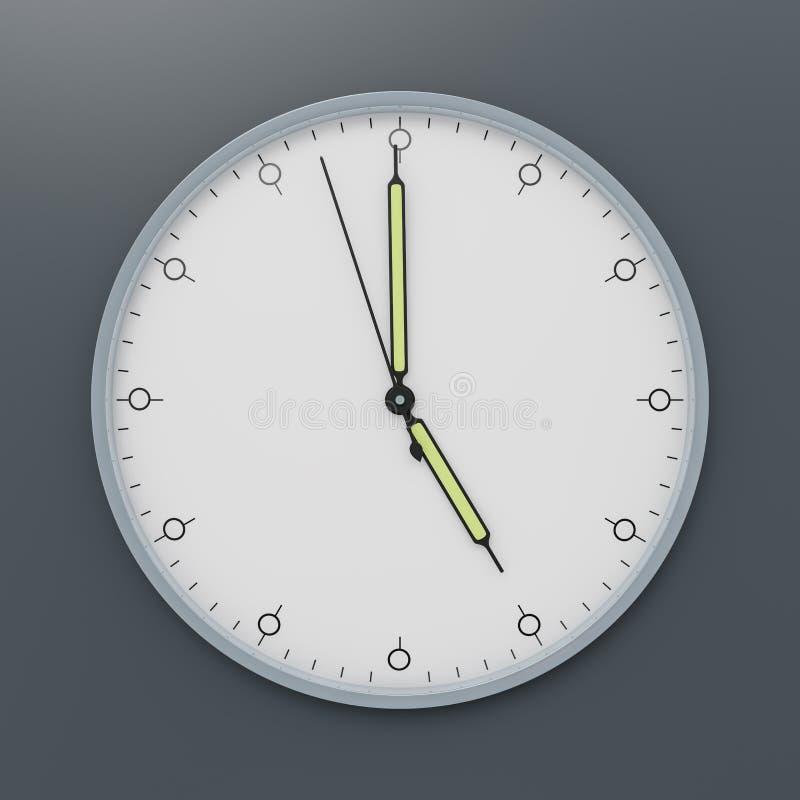 a clock shows five o\'clock royalty free illustration