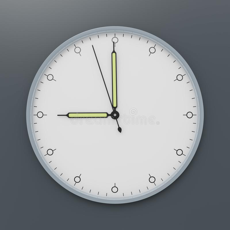 A clock shows nine o`clock vector illustration