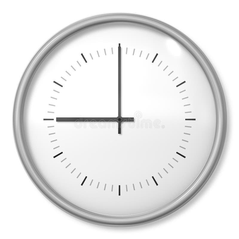 a clock shows nine o\'clock royalty free illustration