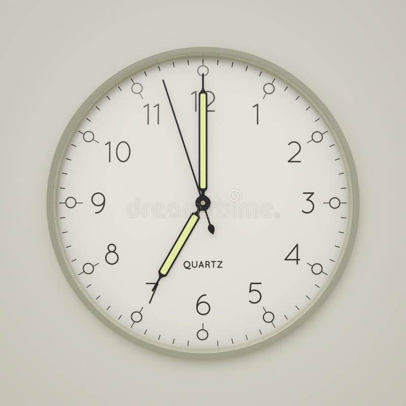 a clock shows 7 o 'clock royalty free illustration