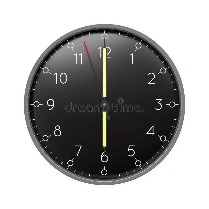 a clock shows 6 o 'clock vector illustration