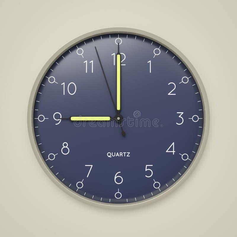 a clock shows 9 o 'clock stock illustration