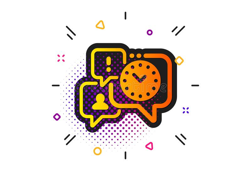 Time management icon. Clock sign. Watch. Vector. Clock sign. Halftone circles pattern. Time management icon. Watch symbol. Classic flat time management icon vector illustration