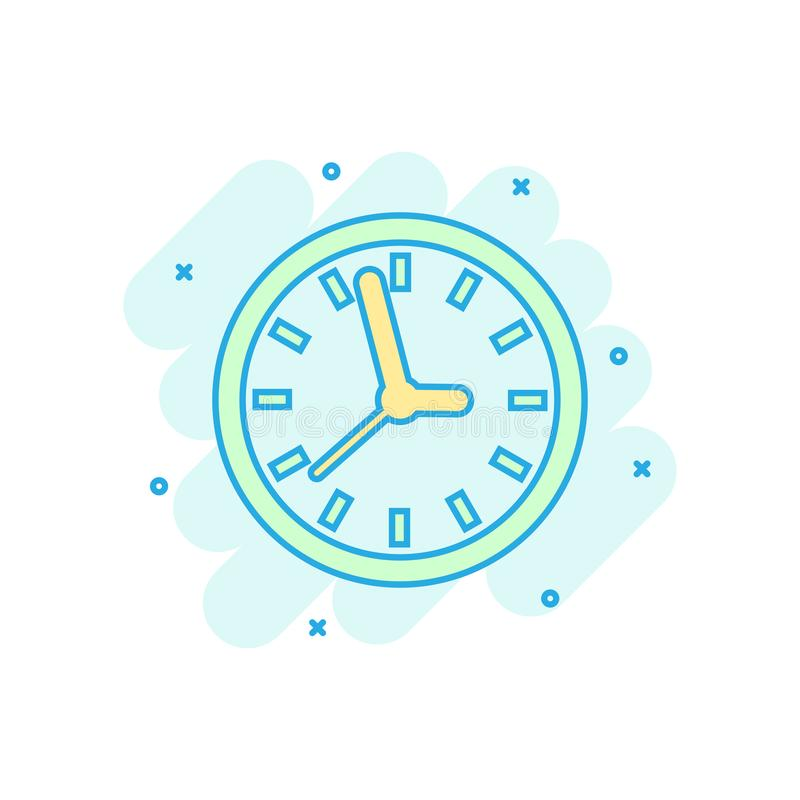Clock sign icon in comic style. Time management vector cartoon illustration on white isolated background. Timer business concept. Splash effect royalty free illustration