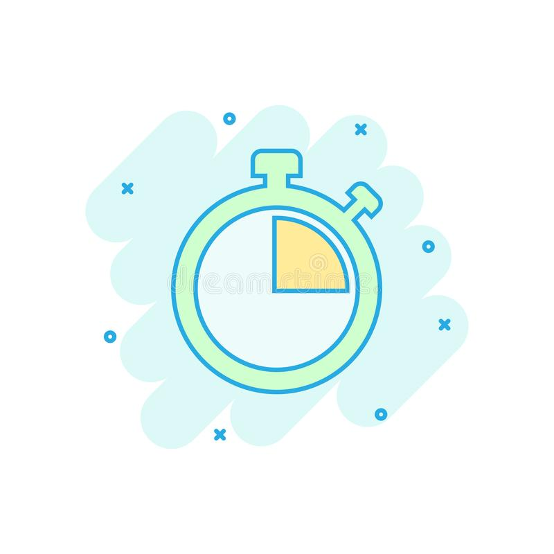 Clock sign icon in comic style. Time management vector cartoon illustration on white isolated background. Timer business concept. Splash effect stock illustration