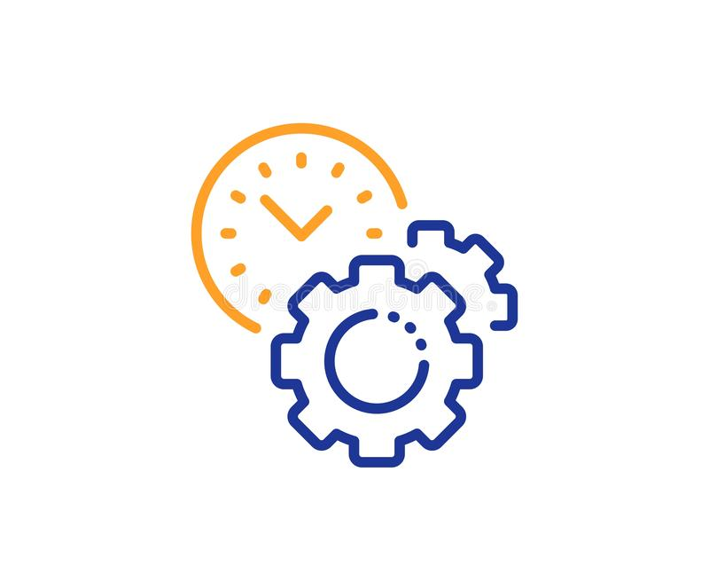 Time management line icon. Clock sign. Gear. Vector. Clock sign. Time management line icon. Gear symbol. Colorful outline concept. Blue and orange thin line time royalty free illustration