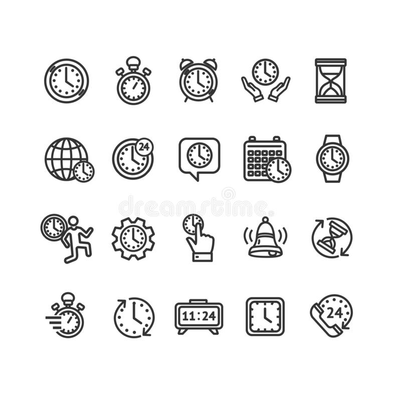 Clock Signs Black Thin Line Icon Set. Vector royalty free illustration