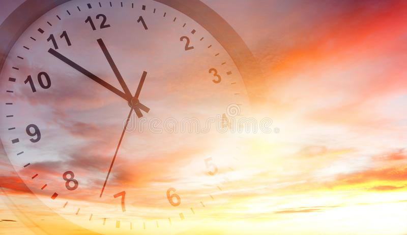 Clock in sky royalty free stock images