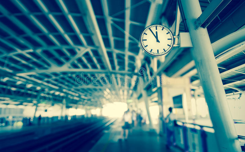 Clock at the sky-train station,vintage tone royalty free stock photos
