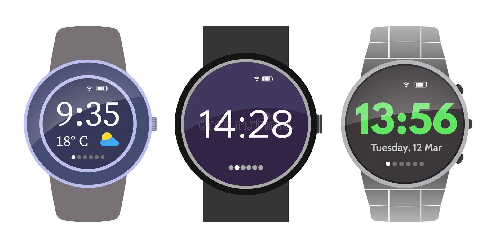 Set of three smart watches device stock photography