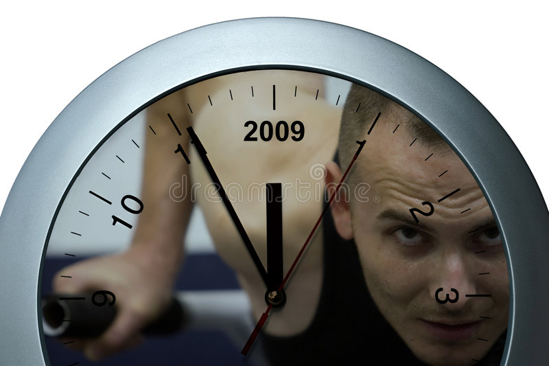 Clock sportive. Silver clock, sports theme, year passing simple concept stock photography
