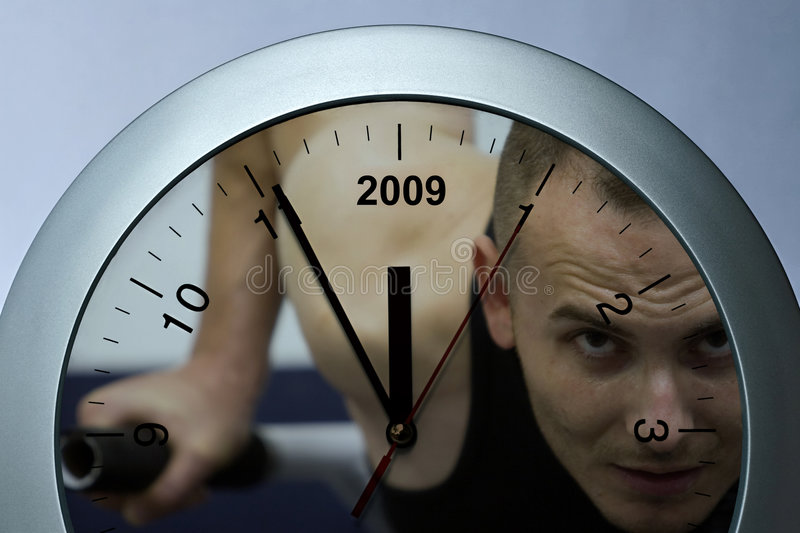 Clock sportive. Silver clock, sports theme, year passing simple concept stock image