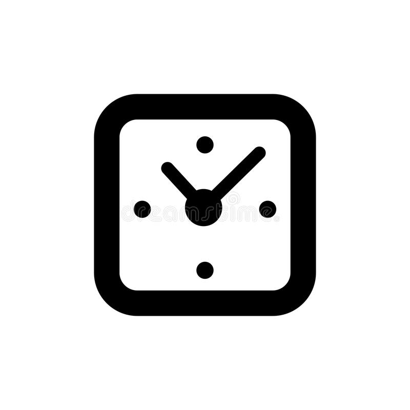 Clock square icon vector. isolated stock illustration