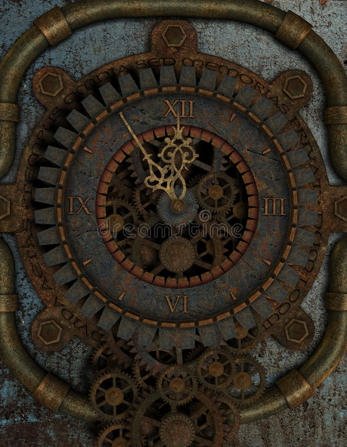 Clock in Steampunk Style royalty free illustration