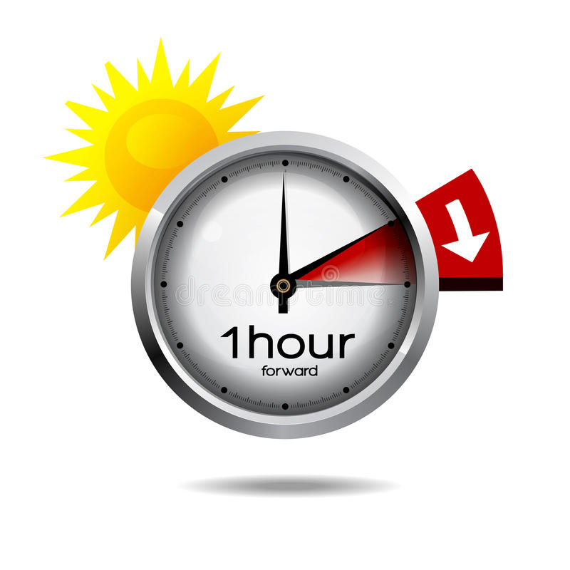 Clock switch to summer time daylight saving time stock illustration