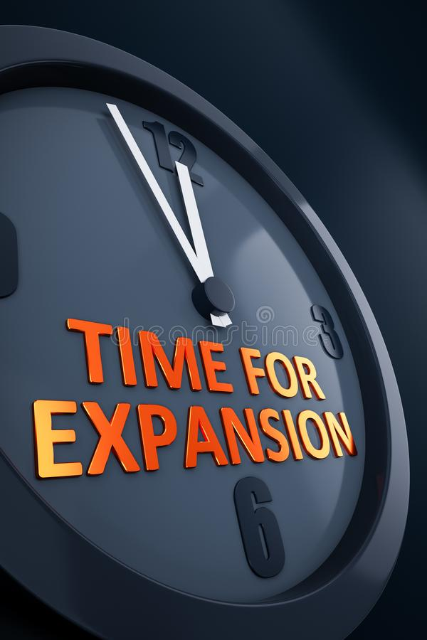 Clock with text time for expansion. A clock with text time for expansion 3D illustration royalty free illustration
