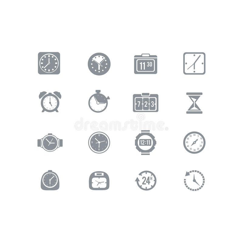 Clock and time icon set royalty free illustration