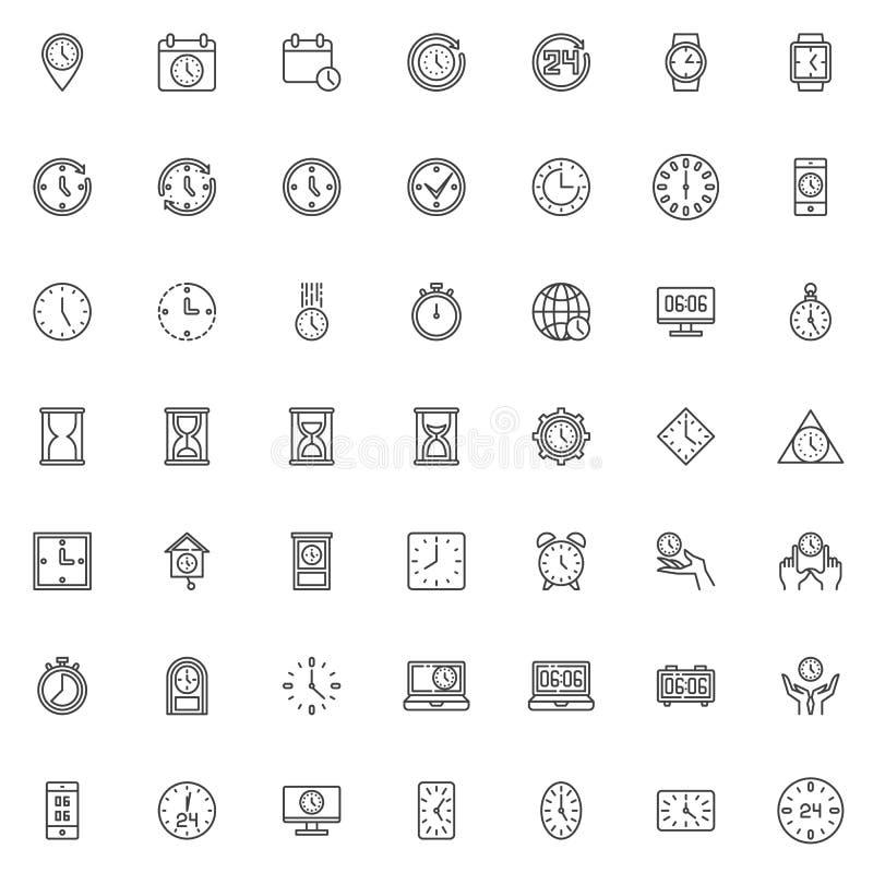 Clock time line icons set vector illustration