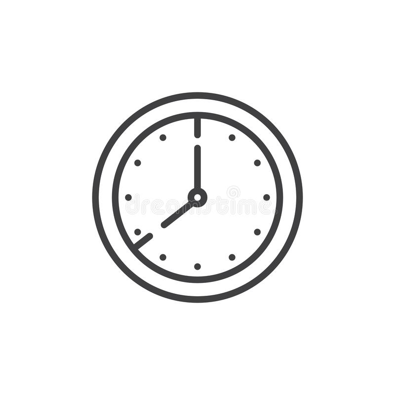 Clock time outline icon vector illustration