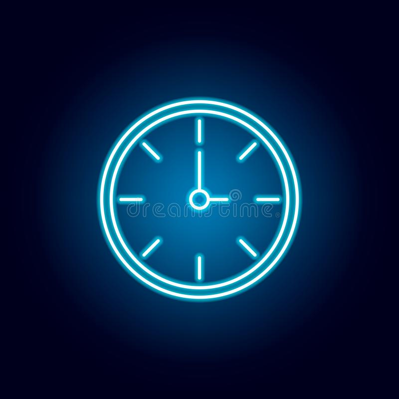 clock, time outline icon in neon style. elements of education illustration line icon. signs, symbols can be used for web, logo, royalty free illustration