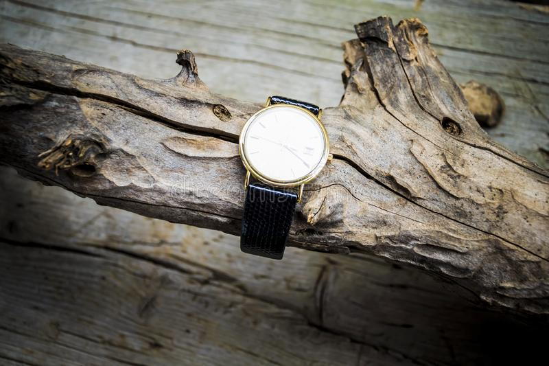 Gold wrist watch with leather strap on wooden background. Clock, time, watch, old, antique, , hour, white, vintage, minute, retro, pocket, alarm, gold, business royalty free stock photography