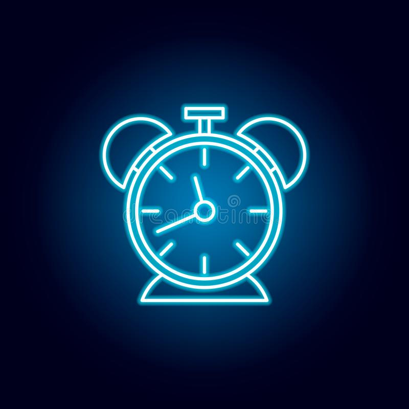 clock, timer, hour outline icon in neon style. elements of education illustration line icon. signs, symbols can be used for web, stock illustration