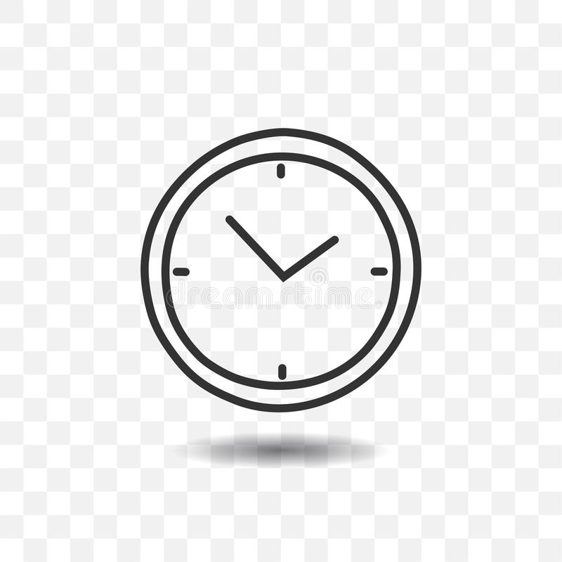 Clock timer icon. Clock timer icon with shadow on transparent background stock illustration