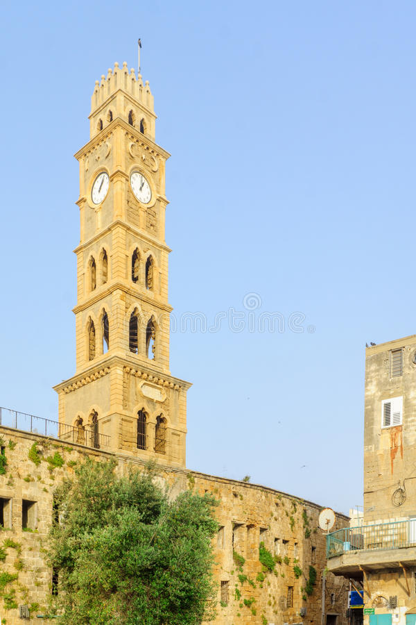 The clock tower in Acre Akko stock image
