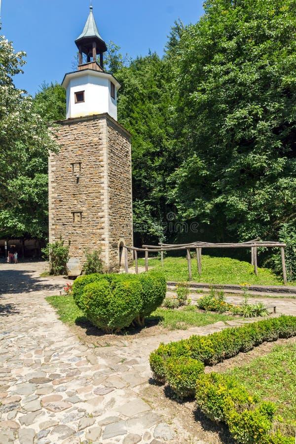 Clock tower in Architectural Ethnographic Complex Etar Etara near town of Gabrovo, Bulgar stock image