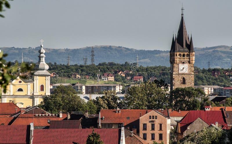 Clock Tower in Baia Mare. Romania, Maramures Region, Baia Mare, elevated city view stock images