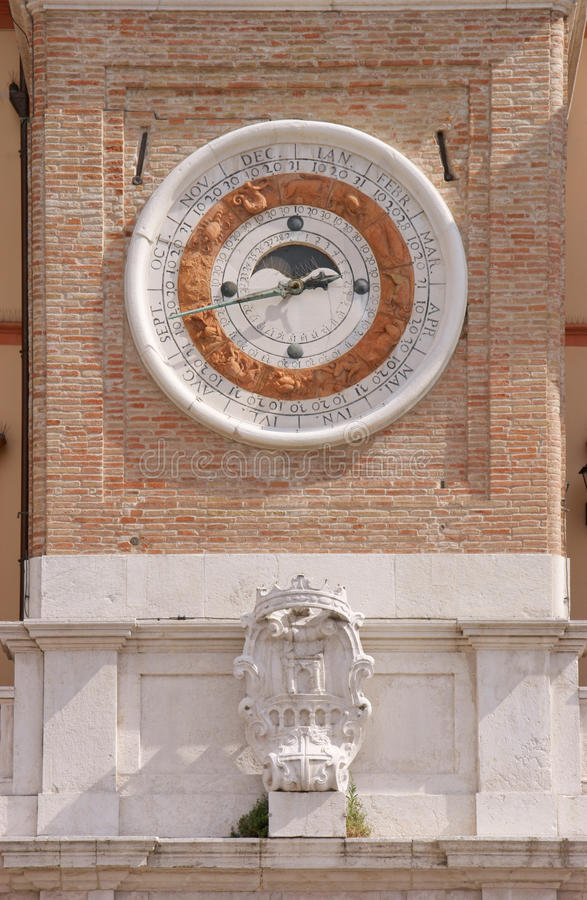 Clock tower with calendar and lunar phase dial royalty free stock images