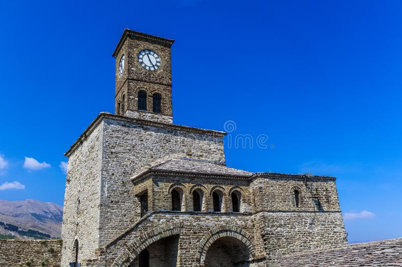 Clock tower of the castle of Gjirokastra. Historical Clock tower of the castle of Gjirokastra, Albania royalty free stock photo