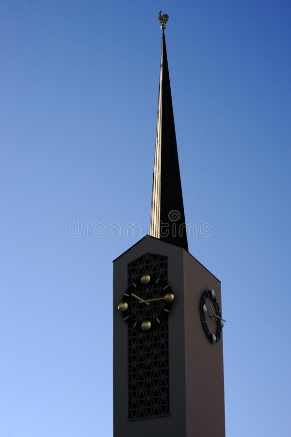 Clock tower Catholic parish church of St. Agatha stock photo