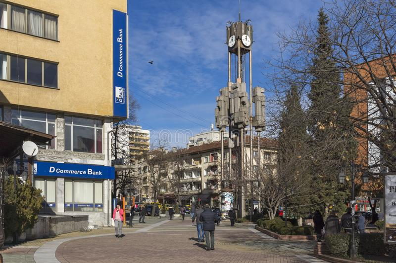 Clock tower in the center of City of Haskovo, Bulgaria stock photography