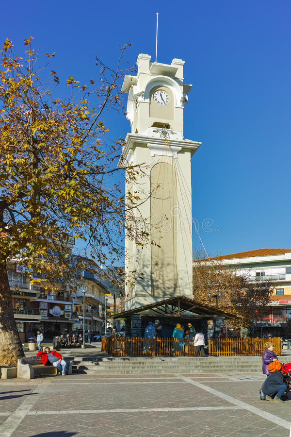 Clock tower in the center of town of Xanthi, Greece stock photography
